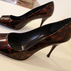 Stuart Weitzman tortoise shell open toe pumps